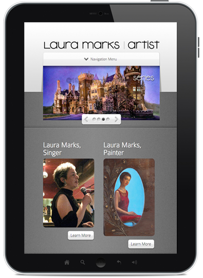 iPad showing Laura Marks